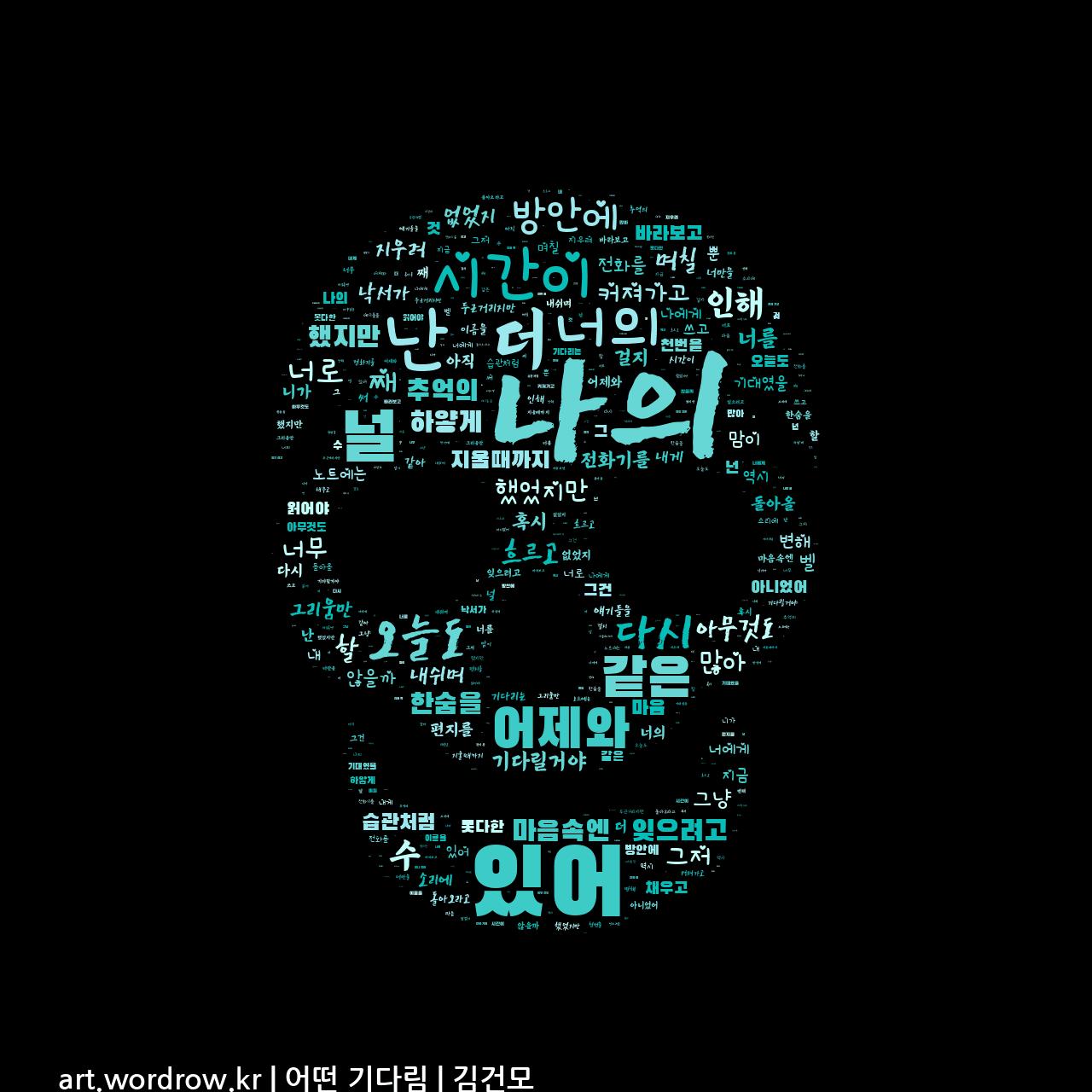 워드 클라우드: 어떤 기다림 [김건모]-69